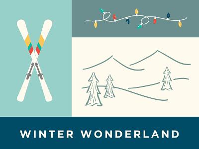 Winter Wonderland ski snow typography caliber creative christmas illustration graphic design