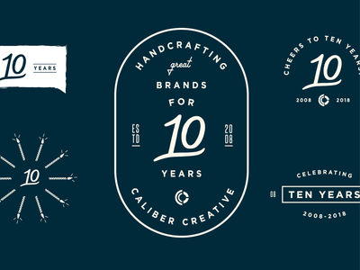 Cheers to Ten Years! 10 anniversary event logo branding vector illustration design caliber creative typography