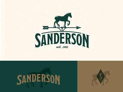 Sanderson Logo illustration caliber creative vector graphic design farm agriculture logo design gold green identity weather vane typography horse logo