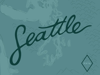 Seattle Bound handlettering mountains travel camping design vector illustration graphic design typography