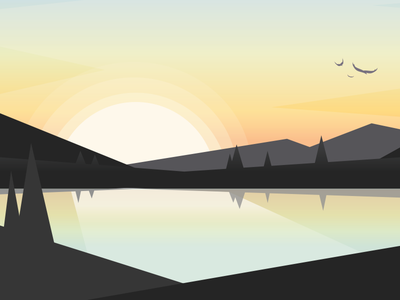 Sunrise Falcons mountains nature birds visual design app design graphic design adobe illustrator sunrise vector