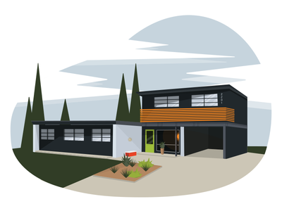 The Tequila Lime Door flat illustrator vector home modern midcentury lime landscape house architecture