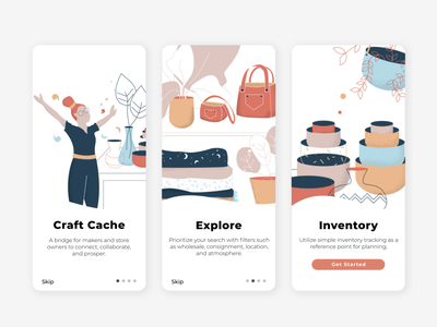 Onboarding Craft App vector user interface texture screens people palette ux  ui ui onboarding illustration craft business app app