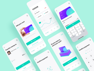 Fintech payment app dashboard graphic faceid creditcard card credit green clean blue illustration icon animation 3d ux flat ui app design