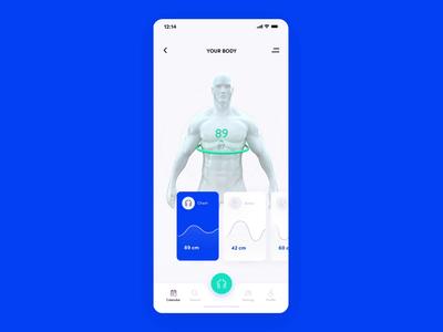 Fitness app octane c4d 3d ios blue white animation ui gym fitness app design 10clouds