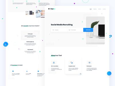 FindEm 10clouds recruitment social shapes 3d landingpage website clean icon blue web flat ux ui design