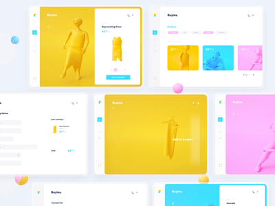 Buyies - Cloth App octane c4d cloth pink white yellow 10clouds illustration clean blue animation 3d web app ui design