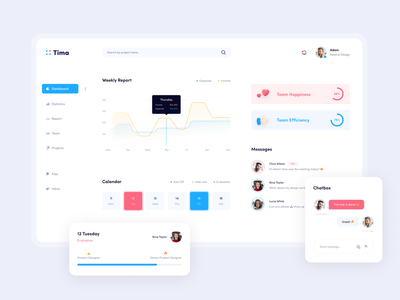 Tima - Team Management Dashboard management team 10clouds red dashboard white blue clean flat ux app ui design