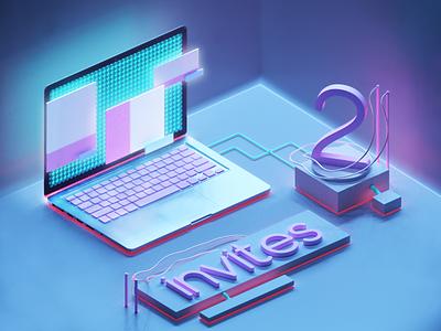 Two Dribbble Invites - 3D art 3d web blue cyberpunk pink follow invites invitation shots design invite illustration