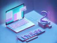 Two Dribbble Invites - 3D art