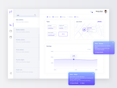 Project management - web app white web ux ui typography type icon flat design blue app dashboard
