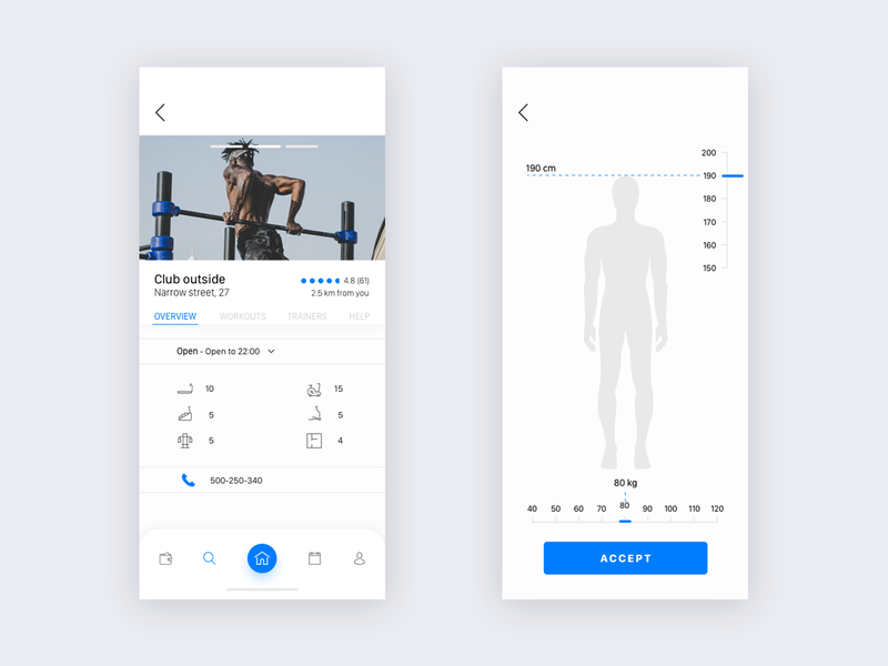 Gym iOS app blue ui ux flat design type lettering iphone app ios vector illustration