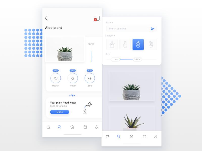 Plant - iOS app ios vector type clean icon blue illustration web flat ux ui app design
