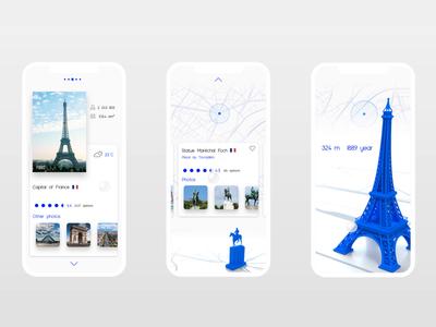 Travel App - 3D animated iOS app clean icon 3d blue animation ux flat ui app design