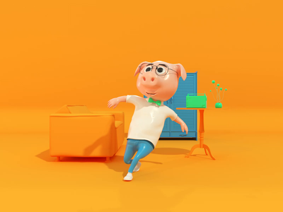 3D Hero - c4d animation animation cinema4d blue illustration yellow pig design character design character hero octane c4d 3d