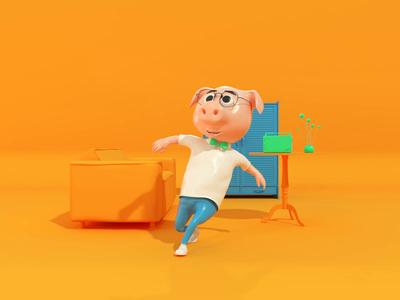 3D Hero - c4d animation animation cinema4d blue illustration yellow pig design character design character hero octane c4d 3d