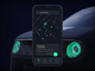 Electric car booking - iOS app red grey dark gps map booking electric car ios flat icon green clean illustration 3d animation ux ui app design