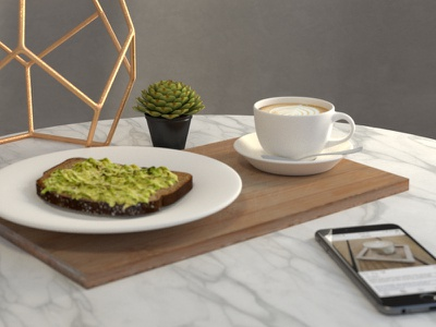 Modern still life digitalart marble 3d octane dailyrender latte avocadotoast render cinema4d otoy octanerender c4d stilllife