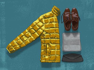 Winter Wear 1 down coat shoes scarf hat winter wear illustration