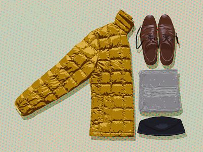 Winter Wear 3 winter wear down jacket winter illustration illustrator scarf hat oxfords