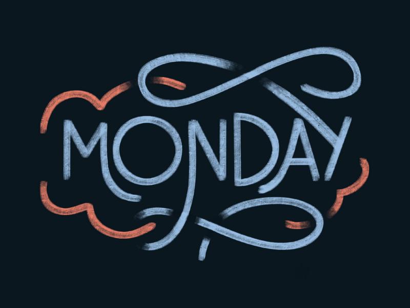 Monday handdrawn type digital art procreate lettering handlettering type typography