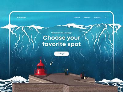Nazaré. Big wave surfing lighthouse water surfing wave web design ui procreate ipadproart illustration art