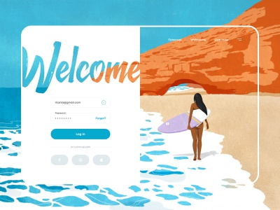 Log in. Legzira Beach surfing web sign in login form ui interface design art procreate ipadproart illustration