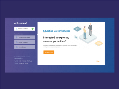 Onboarding Screen for career services