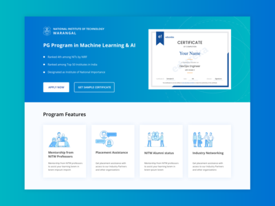 Certificate Section in Edureka's PGP Landing Page