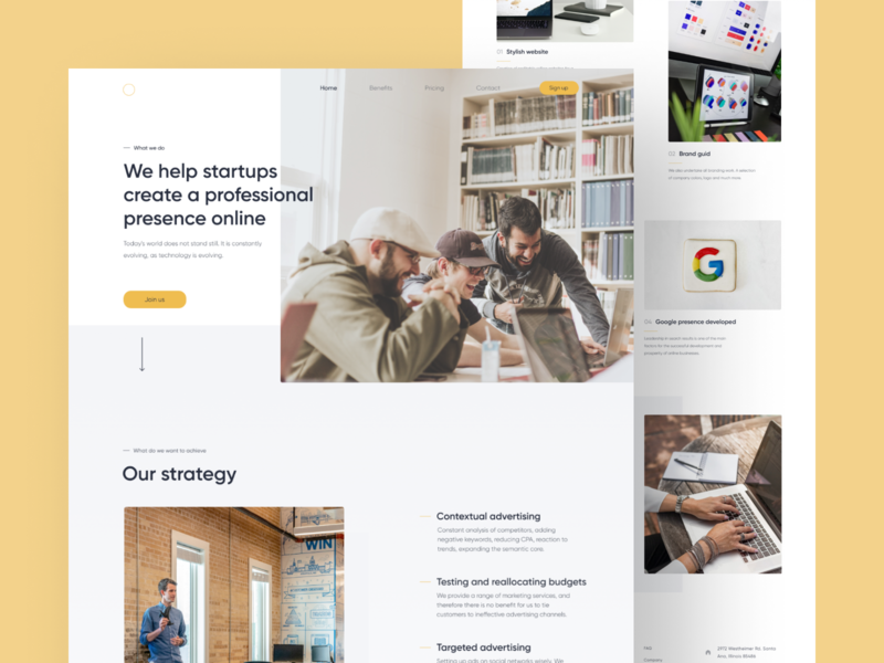 Startup assistant Web startup yellow clear landingpage light white business clean website webdesign ux ui