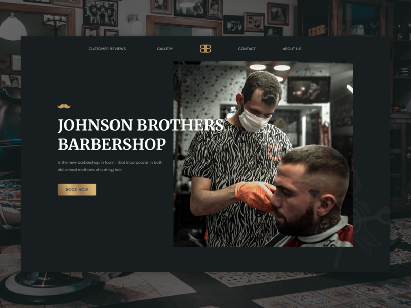 Barber shop web barbers gold black landing clean man stylish dark ui barber barbershop website ux ui webdesign
