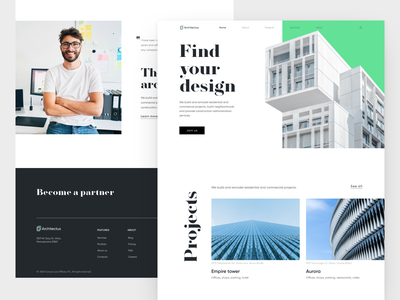 Architect's website stylish design light landingpage webdesign ux ui website clean architecture architect