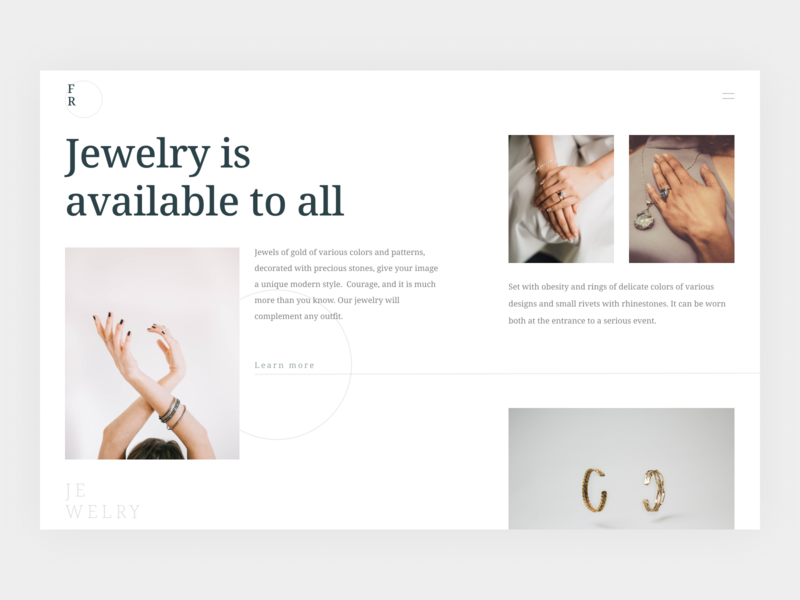 Jewelry design ux ui clean website jewelery
