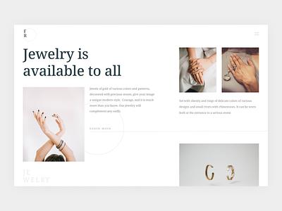 Jewelry design ux ui clean website jewelery