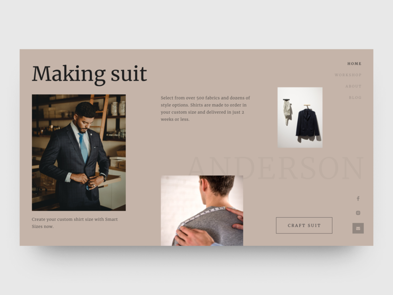 Man suits web costume clean fashion ux ui design website suits