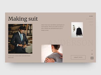 Man suits web costume clean fashion ux ui design website suits