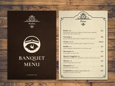 Rialto cafe menu cafe italy restaurant layout graphic  design polygraphy menu design menu