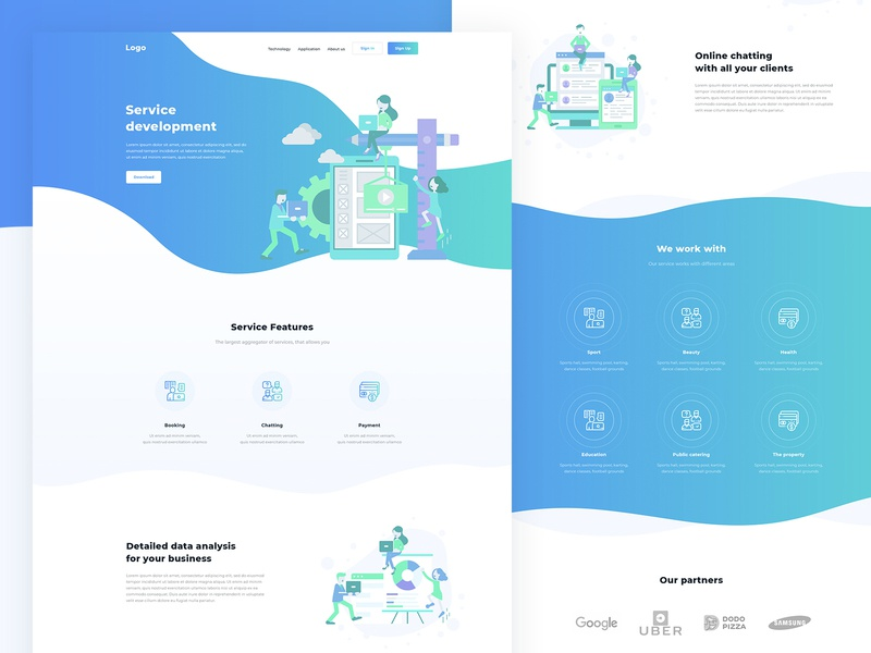 Landing — FREE PSD free free psd clean blue landing page one page free download web design service developement tempalte psd template psd download minimal flat