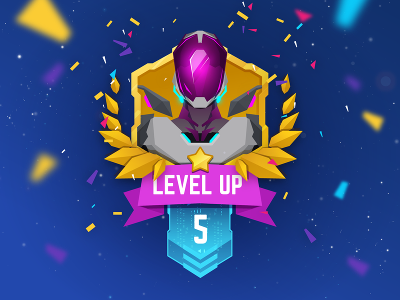 Level up level up level gui vector vector illustration space lowpoly illustration character design fui ui game ui