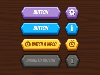 Buttons set vector polygon disabled active button 3d button game ui ui