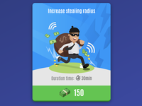 Special ability: Increase stealing radius