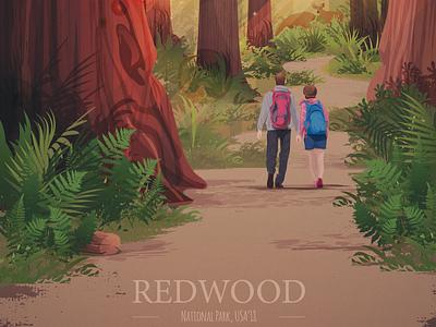 Redwood ― poster design california giant tree trees sequoia adobeillustator illustrator vector art illustration digital retro poster poster art redwood