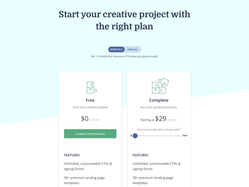 New ConvertKit pricing page