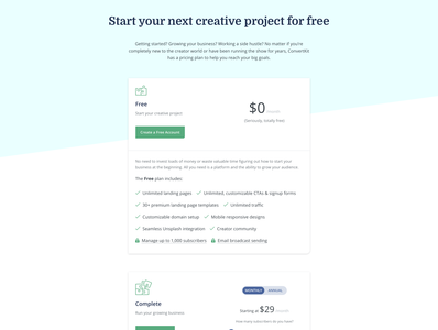 Pricing page variant