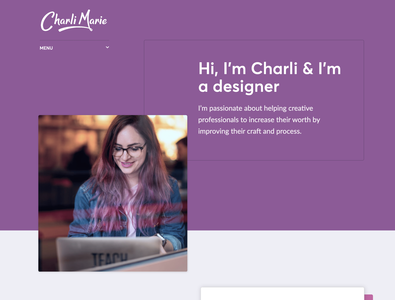 New personal site homepage color block hero header web design personal website