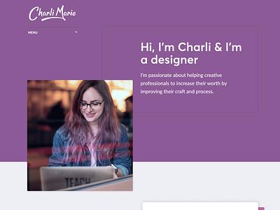 New personal site homepage color block hero header web design personal website