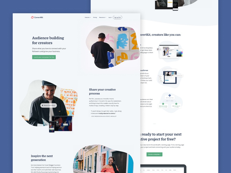 A creator-focussed homepage