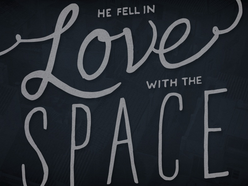 He Fell In Love With The Space Between Two Buildings hand drawn lettering wallpaper free freebie drawing typography