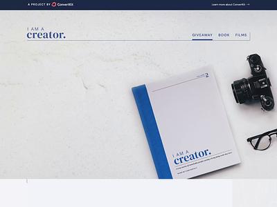 I Am A Creator website brand design marketing design giveaway webdesign landing page marketing website