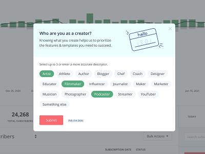 In-app survey prompt modal survey